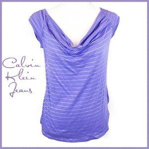 Calvin Klein Jeans Purple Drape Neck Top Size M